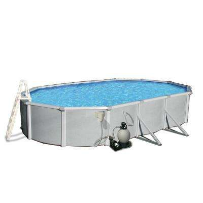 Samoan 18 ft. x 33 ft. Oval 52 in. Deep 8 in. Top Rail Metal Wall Swimming Pool Package