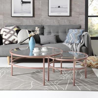 Rose Golden Nesting 2-Piece Coffee Table Set