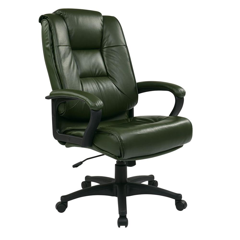 Work Smart Green Leather Executive Office Chair-EX5162-G16