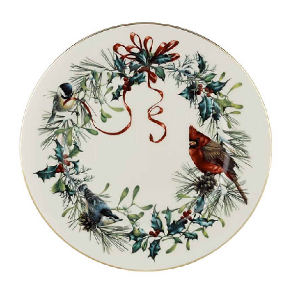 Winter Greetings Ivory Dinner Plate