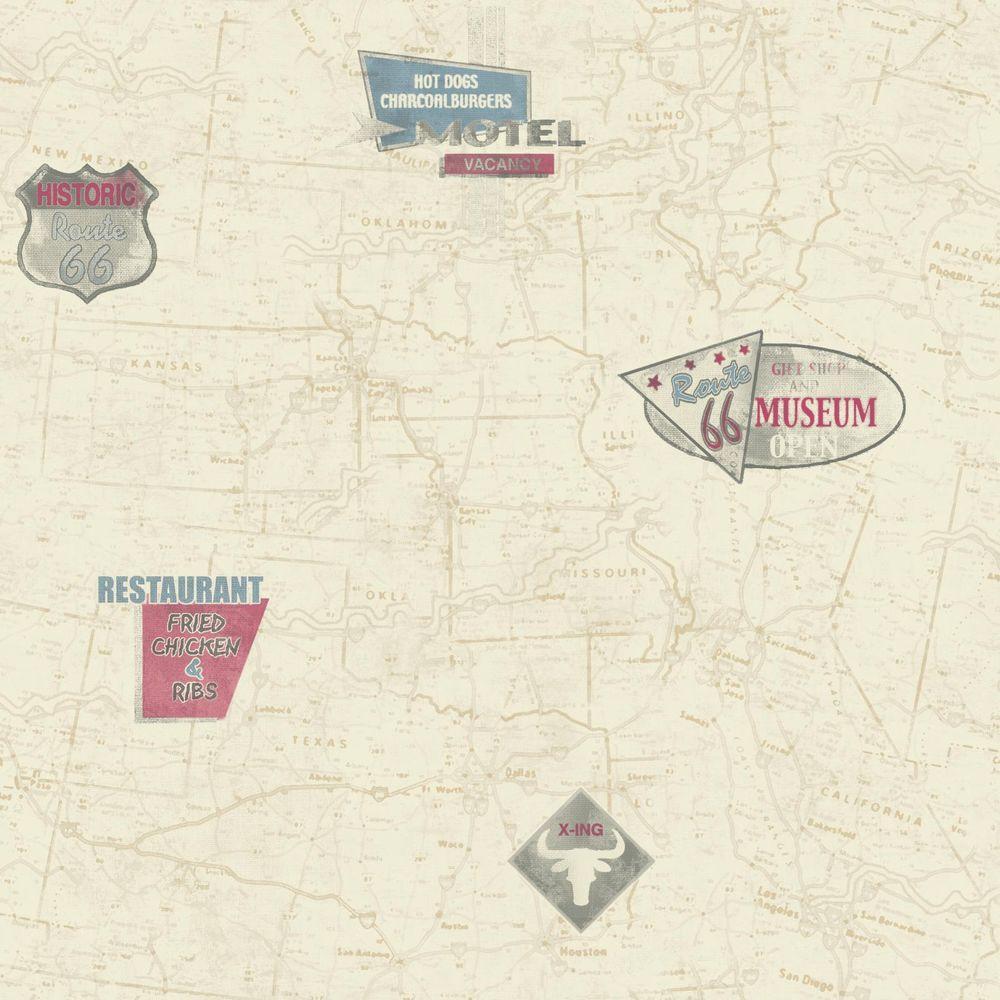 York Wallcoverings American Classics Route 66 Map Wallpaper