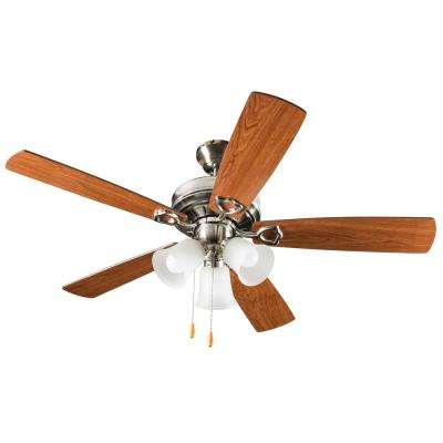 3-Light 52 in. Indoor Brushed Nickel Ceiling Fan With Light Kit