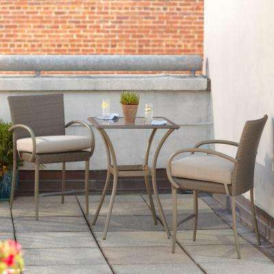 Posada 3-Piece Balcony-Height Patio Bistro Set with Gray Cushions