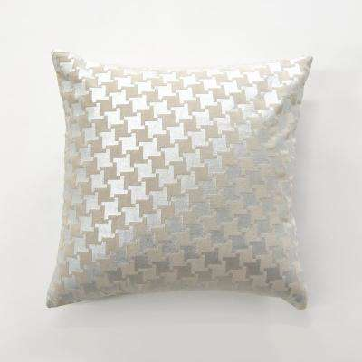 Metallic Houndstooth Velvet Pillow