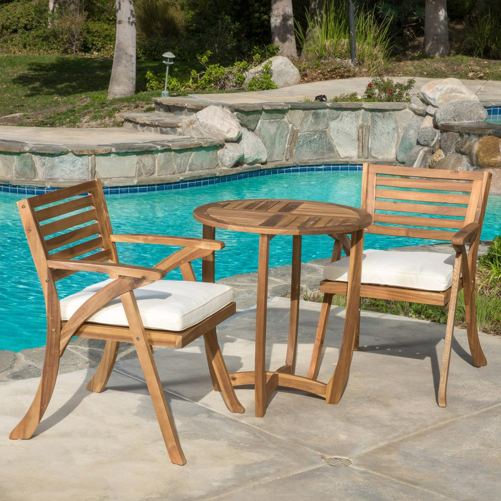 Noble House Coronado Teak 3 Piece Wood Round Outdoor Bistro Set With Cream Cushions 8115 The Home Depot