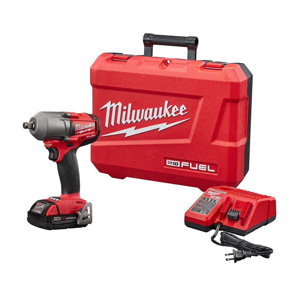 Milwaukee M18 FUEL 18-Volt Lithium-Ion Mid Torque Brushless Cordless 1/2 in. Impact Wrench W/Friction Ring Kit W/(1) 2.0Ah Battery