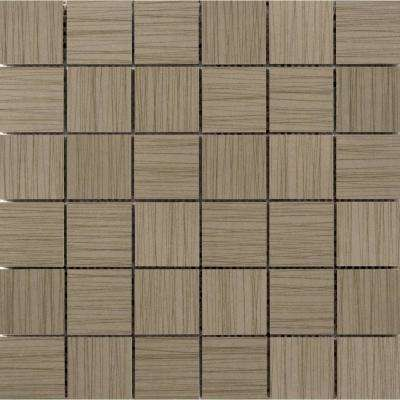 Thread Olive 11.81 in. x 11.81 in. x 9mm Porcelain Mesh-Mounted Mosaic Tile