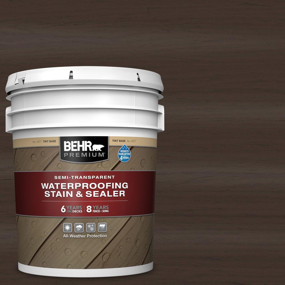 BEHR Premium 5 gal. #ST-105 Padre Brown Semi-Transparent Waterproofing Exterior Wood Stain and Sealer