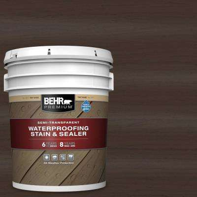 5 gal. #ST-105 Padre Brown Semi-Transparent Waterproofing Exterior Wood Stain and Sealer