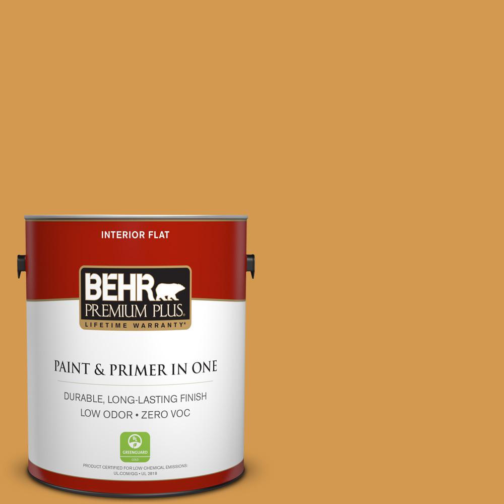 1 gal. #PPU6-02 Saffron Strands Zero VOC Flat Interior Paint