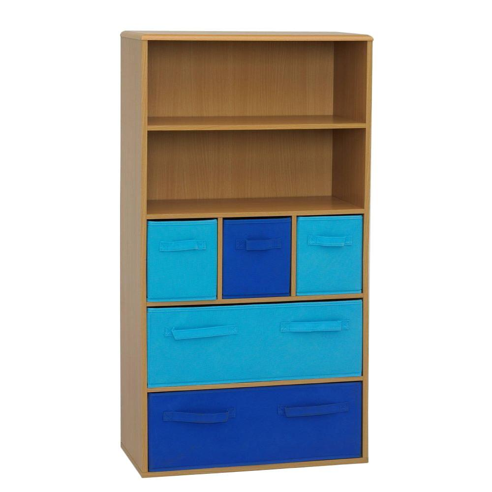 4d Concepts Beech Storage Bookcase Blue