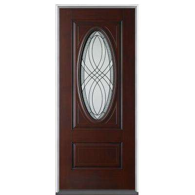 36 in. x 80 in. Everland Cianne Cherry Left-Hand Inswing 3/4 Oval Finished Smooth Fiberglass Prehung Front Door