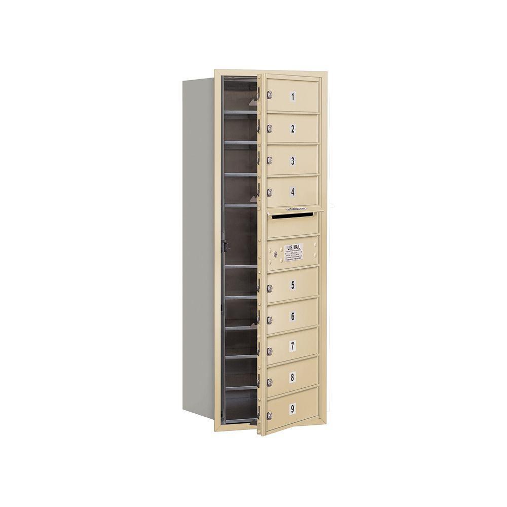 3700 Series 41 in. 11 Door High Unit Sandstone USPS Front Loading 4C Horizontal Mailbox with 9 MB1 Doors