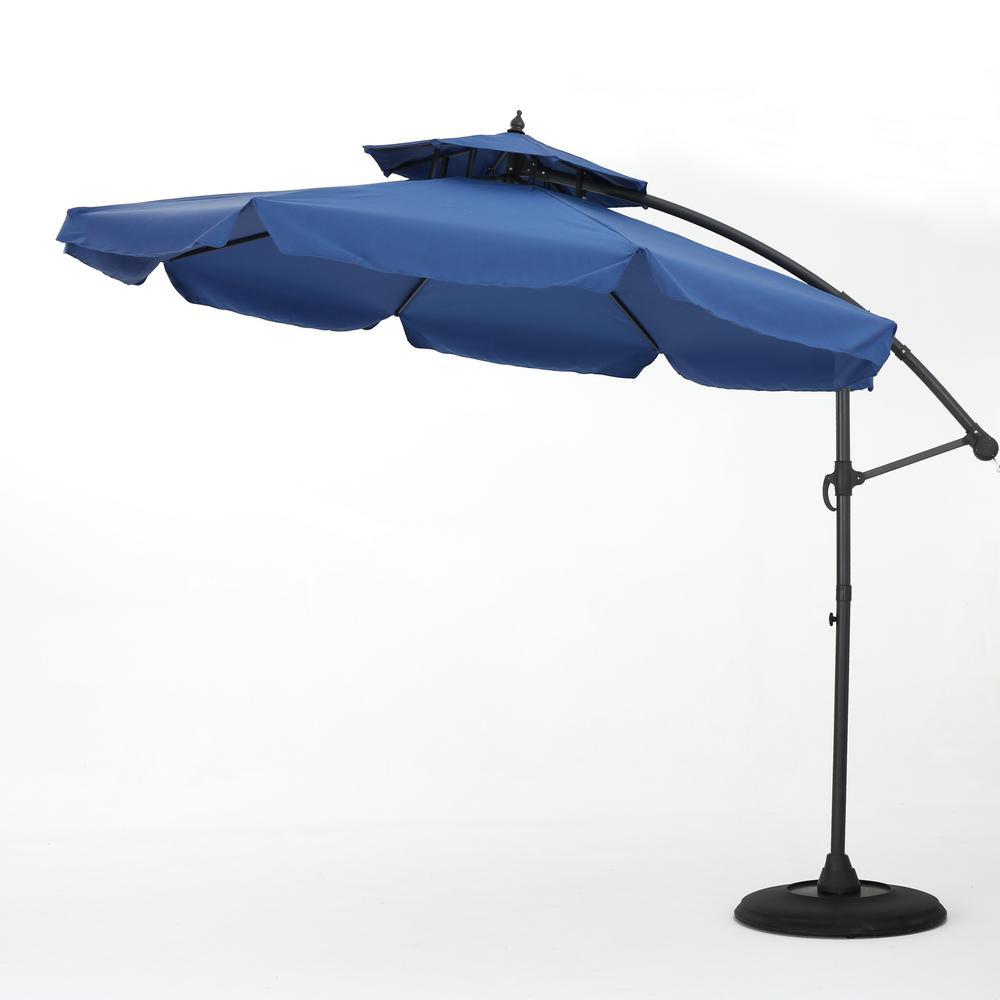 9.67 ft. Iron Cantilever Tilt Patio Umbrella in Navy Blue