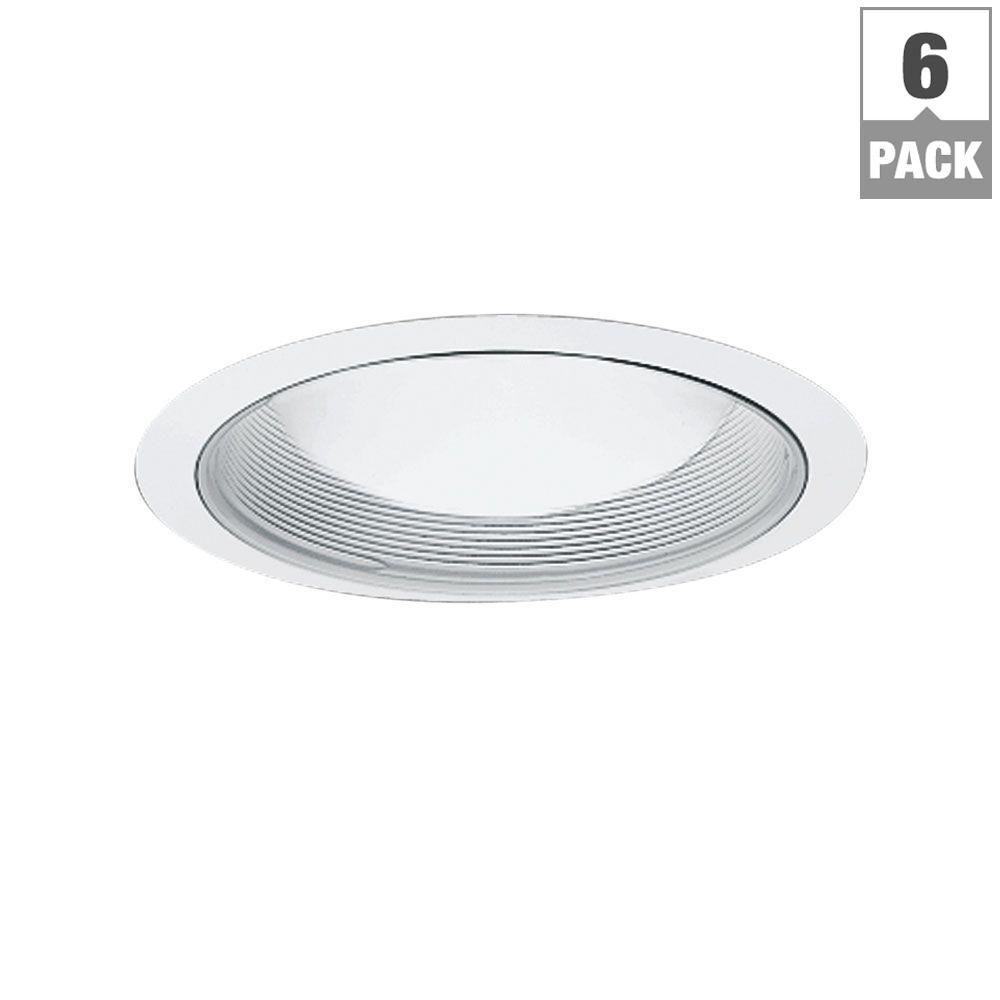 6 in. White Recessed Ceiling Light Baffle Trim (6-Pack)