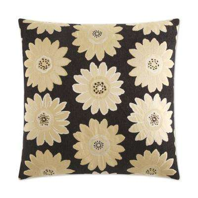 Daisy May Black Feather Down 24 in. x 24 in. Standard Decorative Throw Pillow