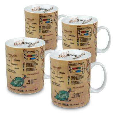 Konitz 4-Piece Mug of Knowledge Biology Porcelain Mug Set