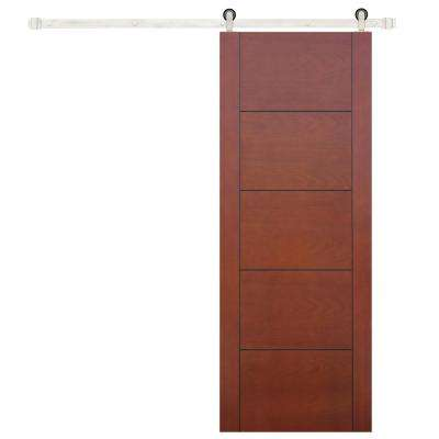 32 in. x 80 in. 5-Panel Prefinished Flush Mahogany Wood Barn Door with Stainless Steel Sliding Door Hardware Kit
