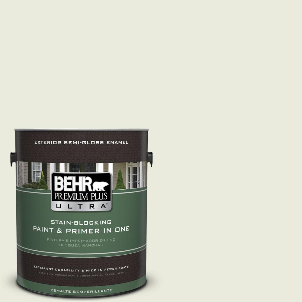 BEHR Premium Plus Ultra 1-gal. #BWC-18 Spring White Semi-Gloss Enamel Exterior Paint