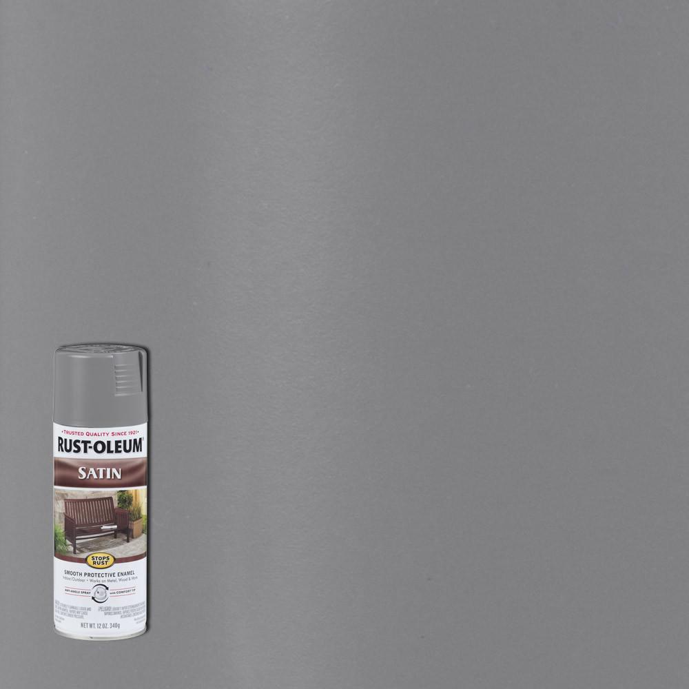 12 oz. Protective Enamel Satin Coastal Gray Spray Paint (6-Pack)