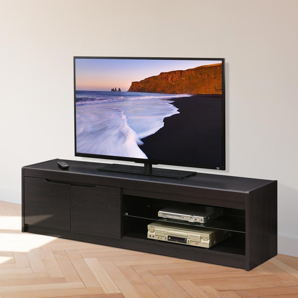 furinno indo wenge 2 doors and glass shelf entertainment center rh homedepot com tv glass wall shelves tv glass shelf wall