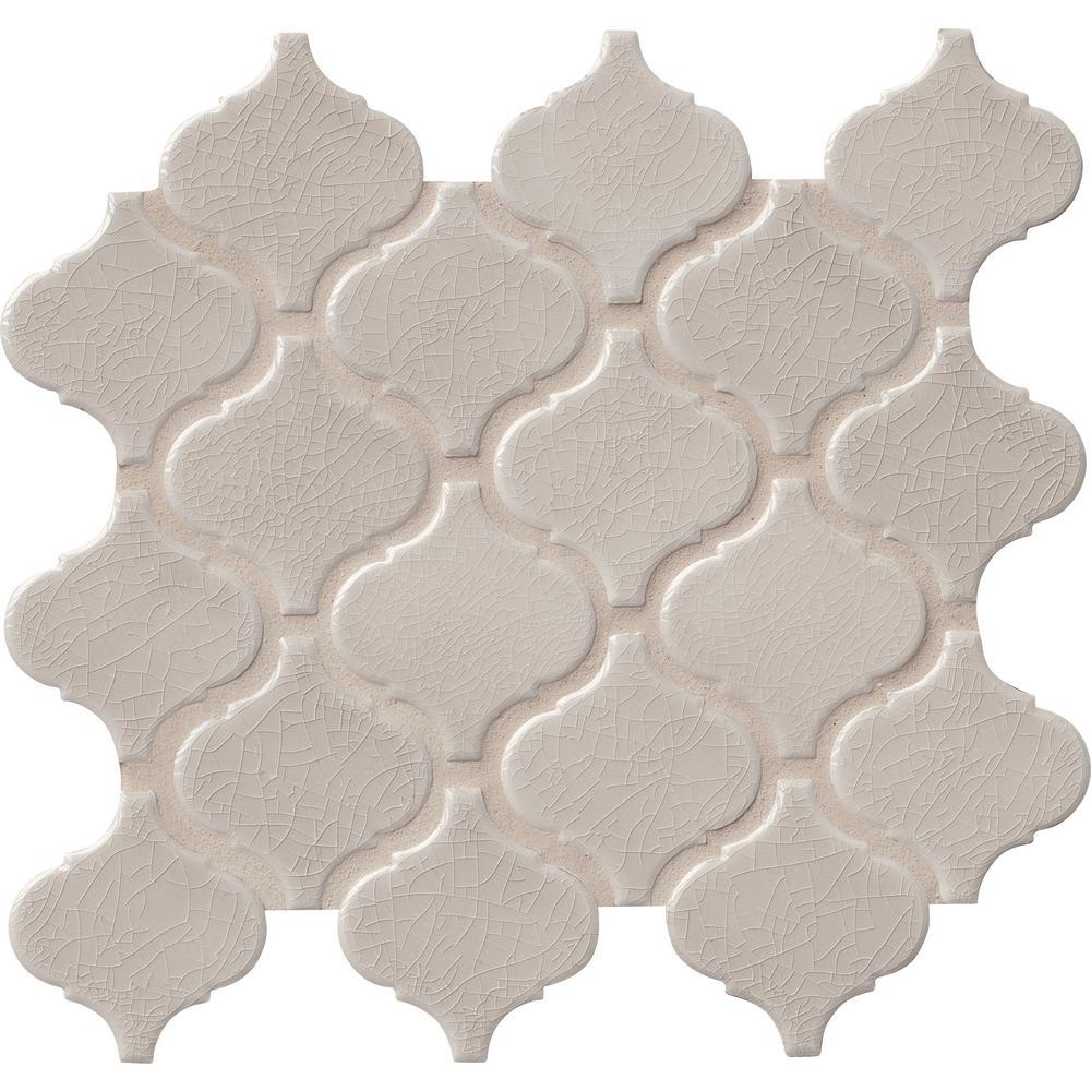 Fog Arabesque 9.84 in. x 10.63 in. x 6 mm Glazed Ceramic Mesh-Mounted Mosaic Tile (10.95 sq. ft. / case)
