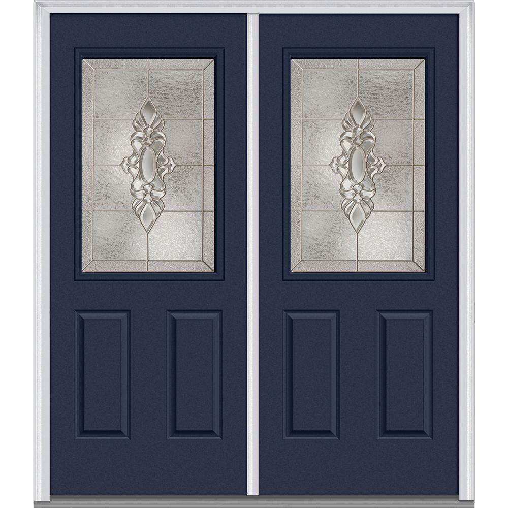 64 in. x 80 in. Heirloom Master Left-Hand Inswing 1/2-Lite Decorative Painted Fiberglass Smooth Prehung Front Door