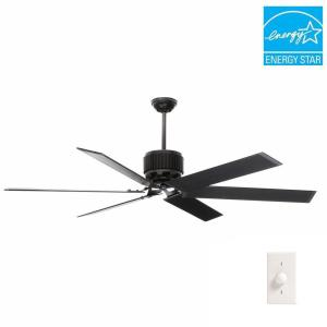 Hunter HFC-72 72 inch Indoor/Outdoor Matte Black Ceiling Fan with wall control by Hunter