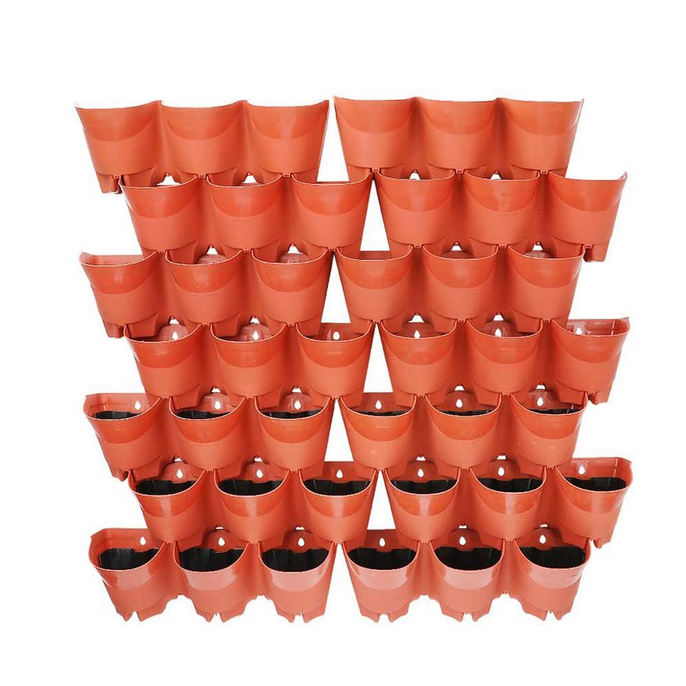 42-Pocket Plastic Self-Watering Vertical Wall-Garden Planters in Terra Cotta Color (14 Sets of 3)