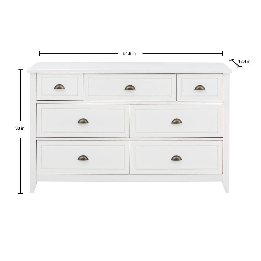 Stylewell Cordale White Wood 7 Drawer, Oak Furniture Drawer Handles