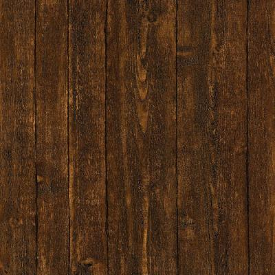 Ardennes Faux Dark Brown Wood Panel Wallpaper