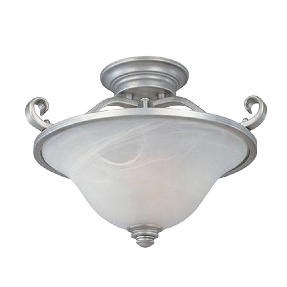 Designers Fountain Kavala Collection 2-Light Matte Pewter Ceiling Semi-Flush Mount Light