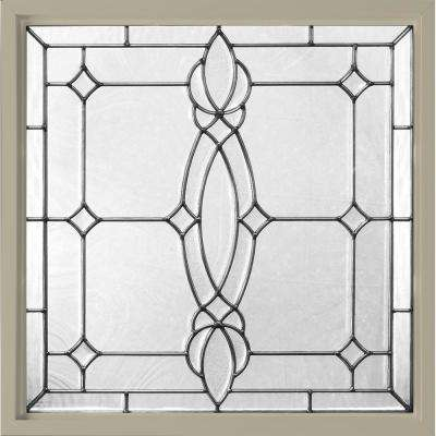 25 in. x 25 in. Decorative Glass Fixed Vinyl Window - Tan