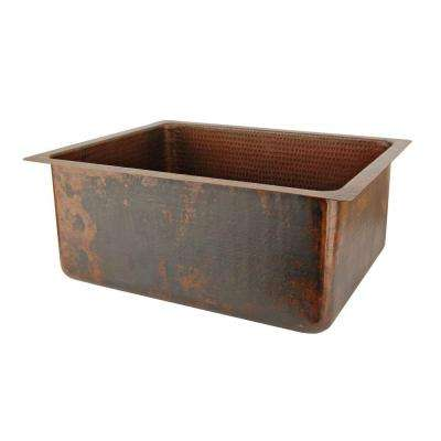 Undermount Hammered Copper 20 in. 0-Hole Kitchen Bar Sink in Oil Rubbed Bronze