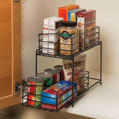 2-Tier Iron Basket Cabinet Organizer in Gun Metal