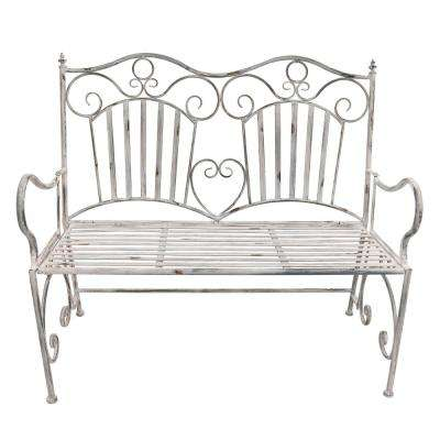 39 in. Metal Garden Bench in White