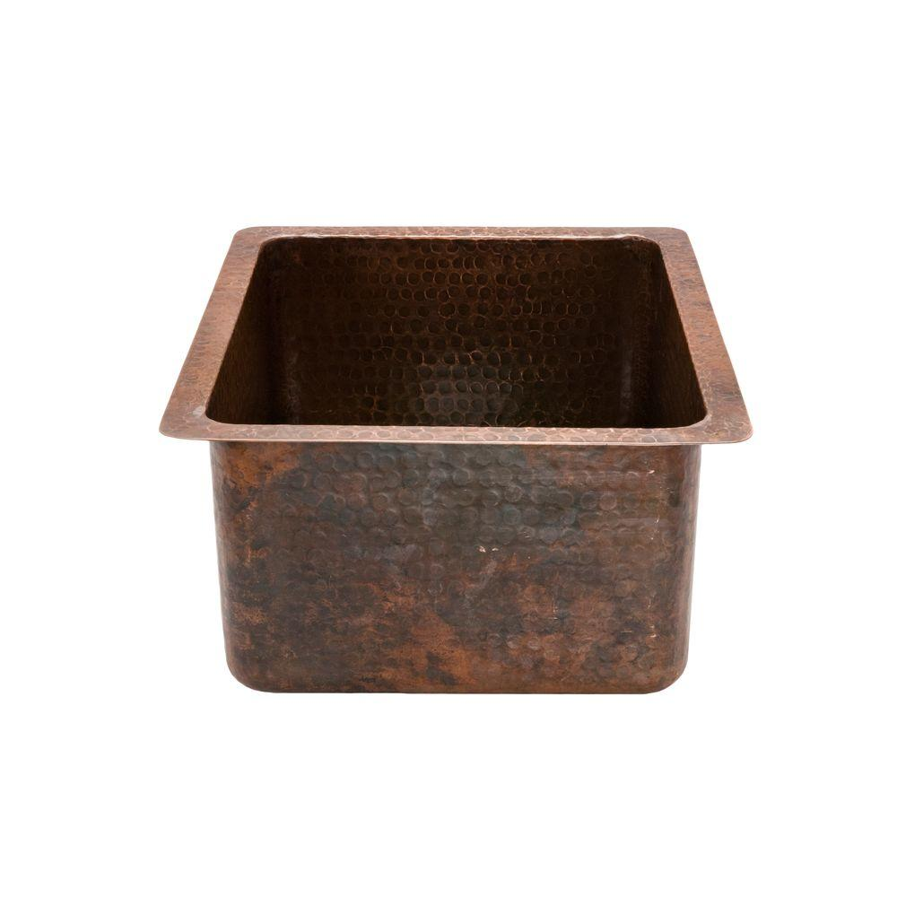 Premier Copper Products Undermount Gourmet Rectangle Hammered Copper 16 In.  0 Hole Bar Sink