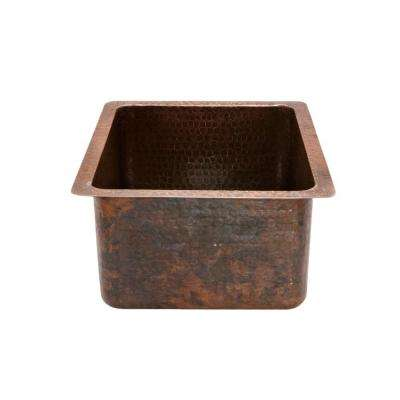 Undermount Gourmet Rectangle Hammered Copper 16 in. 0-Hole Bar Sink in Oil Rubbed Bronze