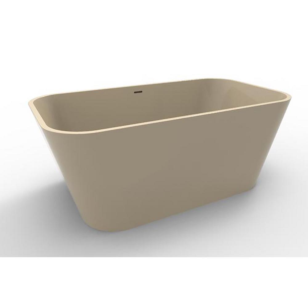 Summerlin 4.75 ft. Solid Surface Flat Bottom Freestanding Air Bath Bathtub in Almond
