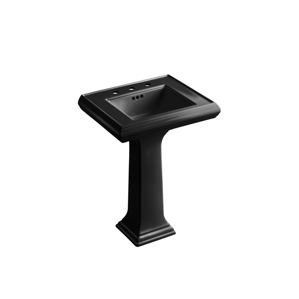 Memoirs Ceramic Pedestal Combo Bathroom Sink in Black with Overflow Drain