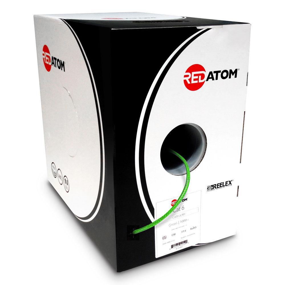 Cat6 1000 ft. 23 AWG 4-Pair UTP Red Atom, Green