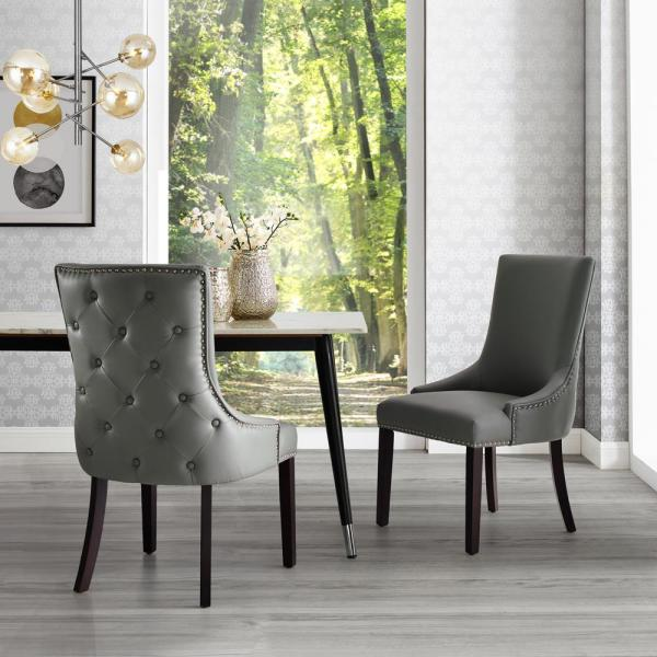Inspired Home Piper Light Grey/Chrome PU Leather Nailhead Armless Dining Chair