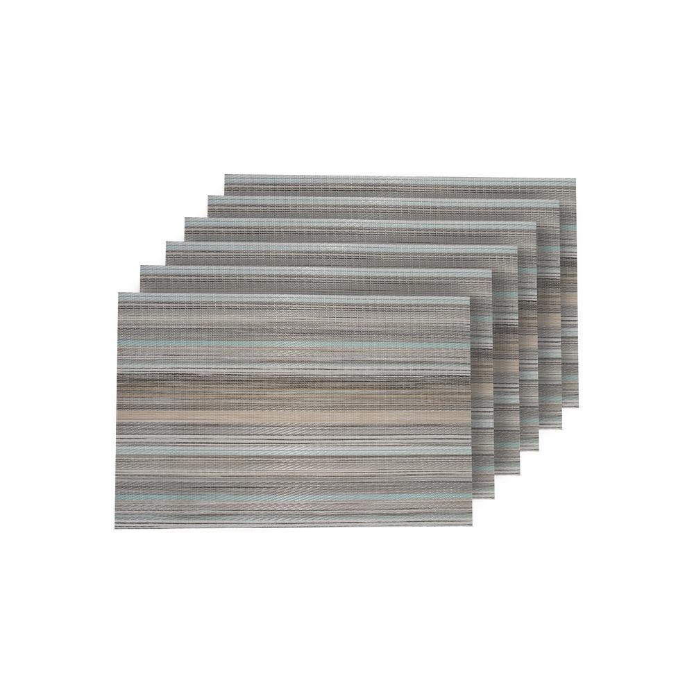 Multistripes Multi-Color Woven Textilene Reversible Rectangle Placemats (Set of 6)