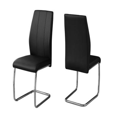 HomeRoots Jasmine Black Leather Look Chrome Metal And Foam Dining Chair 2pcs