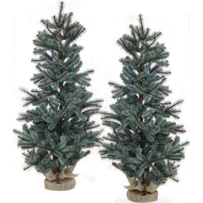 4 ft. Heritage Pine Artificial Trees with Burlap Bases (Set of 2)