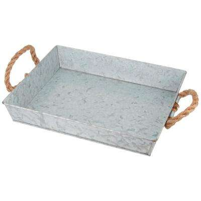 Mix Media Gray Galvanized Tray with Rope Handles