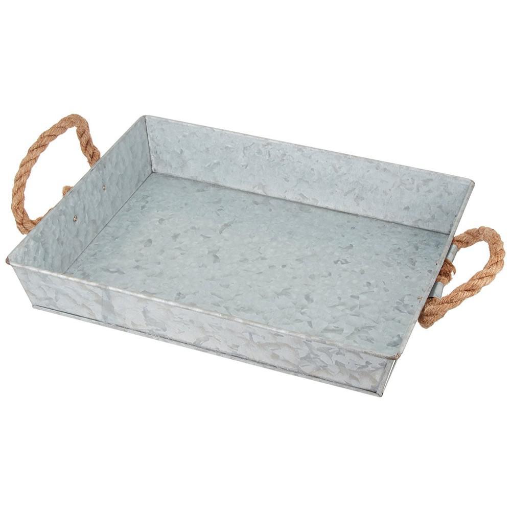 Benzara Mix Media Gray Galvanized Tray with Rope Handles I457-AMC0010