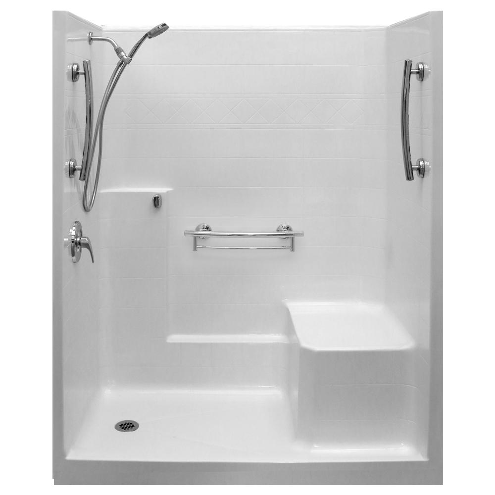Ella Imperial Sa 33 In X 60 In X 77 In 1 Piece Low Threshold Shower Stall In White Molded Seat Accessories Left Drain