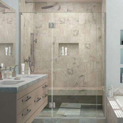 Unidoor-X 58 in. to 58-1/2 in. x 72 in. Frameless Pivot Shower Door in Brushed Nickel