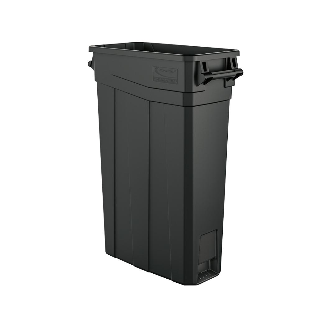 suncast commercial 23 gal resin slim trash cantcnh2030 the home depot